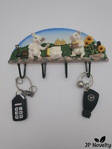 Brand NEW-Piggy Farmer Key/ Cup Holder - Hand Painted - Ceramic -Unique Gift