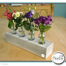 PEETIE Vintage 4er Blumenvase grau Shabby Massivholz Glasvase Holz Vasenleiste