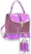 Fuchsia Glitter and Patent Fashion Backpack Convertible Straps
