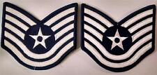 "2  Technical Sergeant E-6  Genuine USAF Insignia Patches Blue  4.25"" X 3"""