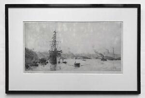 WILLIAM WYLLIE - ORIGINAL PENCIL SIGNED ETCHING - HMS PRESIDENT BY BLACKFRIARS