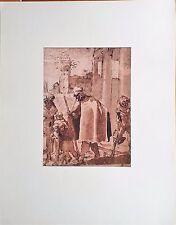 Groupe de MENDIANTS par Annibale CARRACHE Dessin Rehaussé Imprimé 197 x 265 mm