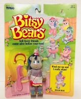1991 Tyco Bitsy Bears Roller Skating Bear Figure Vintage Wind Up Toy Purple