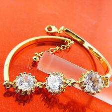 BRACELET BANGLE REAL 18K YELLOW GF GOLD LADIES DIAMOND SIMULATED DESIGN FS3A505