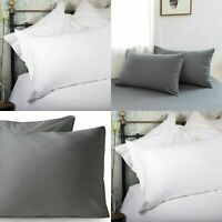 100% Egyptian Cotton 400TC 600 Thread Count Oxford Pillowcase Cover White Grey