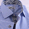 Blue Gingham Check Business Dress Shirt Men's Classic Formal French Cuff Style