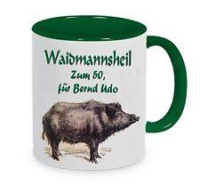 Keramik Tasse- Jagd-Jäger Waidmannsheil bedruckt mit Wunschtext Geschenk