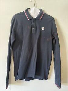 Authentic Moncler Men's Tipped Long Sleeve Piqué Polo M Navy Blue