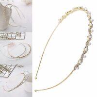 Ornament Pearl Wave Headband Crystal Rhinestone Haiband Wedding Party Hair Hoop