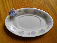 Hallmark Ceramic Oval Candle Holder Plate White with Purple Flowers & Butterfly
