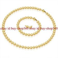 8MM Golden Akoya Shell Pearl Necklace 18'' Bracelet 7.5'' Earring Set AAA