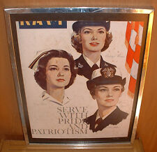 "2cd WORLD WAR POSTER "" NAVY FEMALE POSTER PICTURING 3 NAVY WOMEN -UNFRAMED 17 1/"