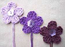 x6 Crochet Flowers appliques PURPLES Mother Pearl button embellishment Toppers