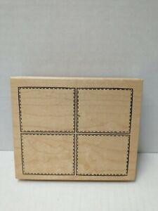 Northwoods Grid Rectangle Four Blocks Tiles Background Rubber Stamp