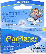 Earplanes for Airplane Flight Ear Pain /  Discomfort - ADULT Size, 1 pair