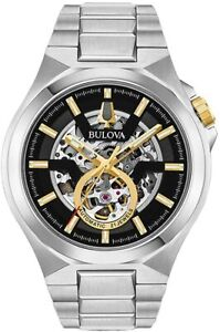 New Bulova Classic Automatic Stainless Steel Skeleton Dial Men's Watch 98A224