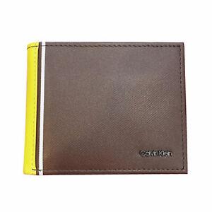 CK Calvin Klein Men's Bifold Coin Pocket Leather Wallet Brown