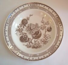 ANTIQUE AESTHETIC PERIOD PAVIA BROWN TRANSFERWARE SOUP PLATE BOWL  ~ B & S.H.