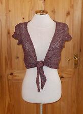 PRINCIPLES brown purple chenille crochet short sleeve bolero cardigan top 14 42