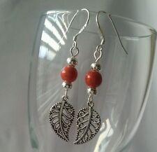 925 Sterling Silver Hook Leaf Dangle Charm Fashion Earrings Handmade US