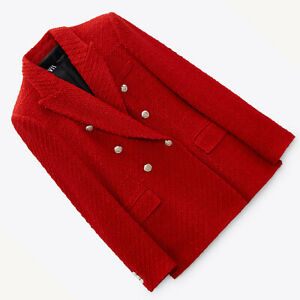 ZARA NEW WOMAN TEXTURED DOUBLE-BREASTED BLAZER RED XS-XL 7822/457