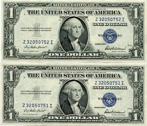 2- 1935  $1 One Dollar Silver Certificate   CONSECUTIVE  50751