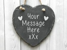 Personalised Laser Engraved Heart Shaped Slate Plaque, 15cm