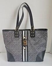 Tommy Hilfiger Womens Tote Bag Black Gray 6939074 003 Signature Handbag MSRP $99