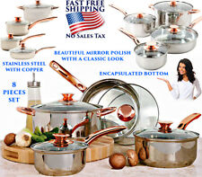 8 PIECE STAINLESS STEEL COOKWARE SET POTS AND PANS GLASS LID SAUCE COPPER HANDLE