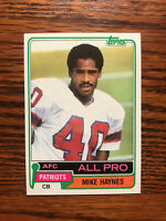 1981 Topps #230 Mike Haynes Football Card New England Patriots AFC All Pro Raw
