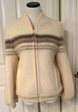 Vintage VAKA 100% Pure Icelandic Wool Zip Front Striped Lined Sweater Sz L EUC!