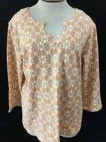 Hearts of Palm knit top size XL orange gray 3/4 sleeve butterfly shape