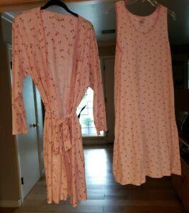 EUC CAROLE HOCHMAN Pink Short Sleeveless Nightgown & Lg.Sleeve Robe Set SIZE Med