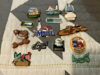 Assorted Lot of 13 Vintage Travel Refrigerator Magnets USA Vinyl Metal Plastic