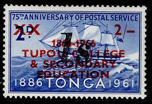 TONGA QEII SG272, 1s on 2s on 2d ultramarine, LH MINT.
