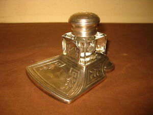 ANTIQUE VICTORIAN ART NOUVEAU SILVERPLATE INK POT INKWELL 1900s