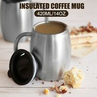 14Oz Double Wall Vacuum Insulated Coffee Mug Beer Milk Cup Stainless Steel w/Lid