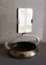 WMF GERMAN PLAYING CARD HOLDER ASHTRAY SIGNED c1910 ANTIQUE METALWARE BRASS