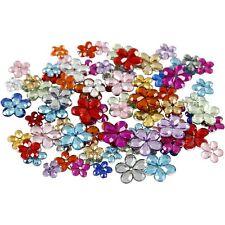 100 Flower Rhinestones: Flat Back Gems Scrapbooking Craft Colourful Multicolour
