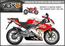 ADESIVI stickers moto KIT per APRILIA RS 125 2006 replica sbk milwaukee