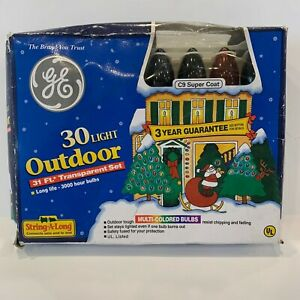 Vintage? GE 30 Light Outdoor Christmas Multi-Colored Bulbs 31 Foot String Lights