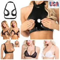 Women Sexy Black Halter Neck Open Bust Cupless Shelf Bra Bralette Crop Tank Top