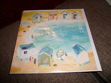 BEACH HUTS IN THE BAY  CLAIRE HENLEY MILKWOOD GREETING CARD BLANK ALL OCCASIONS