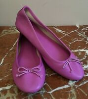 JCREW Classic Soft Leather Ballet Flats w/Grosgrain Bow-Fuchsia Pink/Purple NEW!