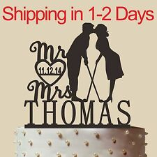 Personalized Silhouette Wedding Cake, Wedding Golf Cake Topper, Made in USA 6""