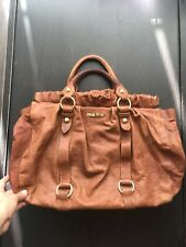 Authentic MIU MIU Braun Leather Vitello Lux Gather 2-Way Shoulder Handbag