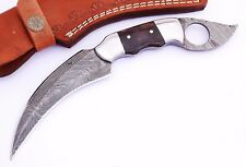 Damascus steel BLADE KARAMBIT KNIFE DYED BONE HANDLE 9.00 INCHES