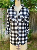 Black and White Buffalo Plaid Flannel Button Up Shirt