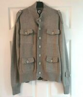 Swade Men's Long Sleeve Grey Buttoned Cotton Cardigan w Pockets ~ Large