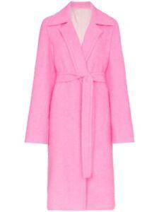Helmut Lang Disco Pink Tie Belt Wool & Alpaca Coat Size S NWT